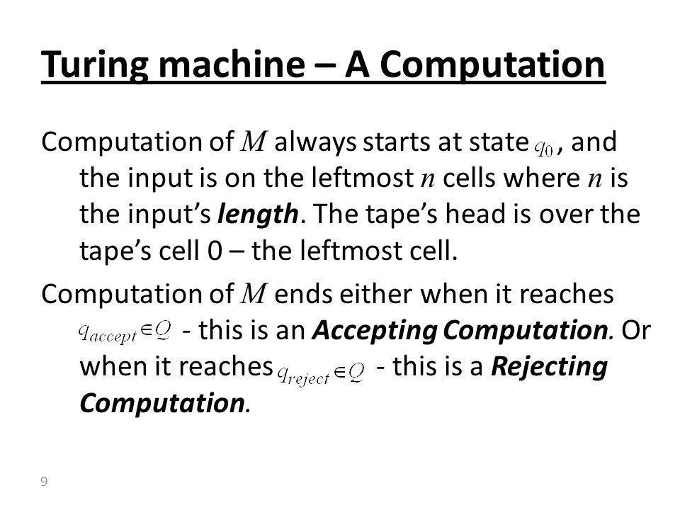 Turing machine – A Computation