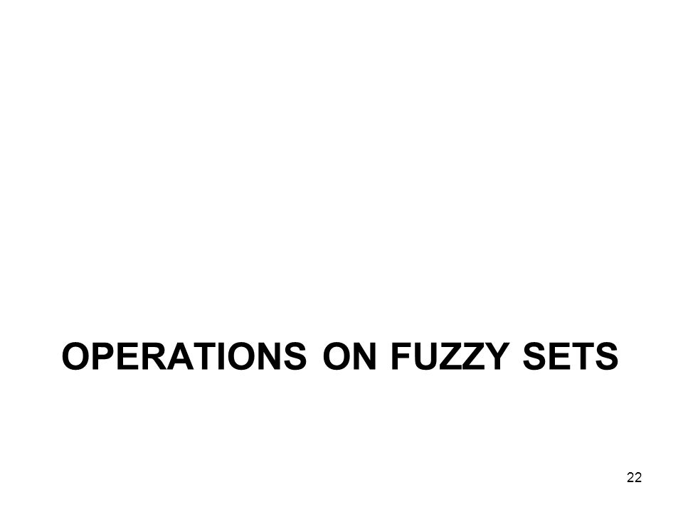Operations on Fuzzy Sets