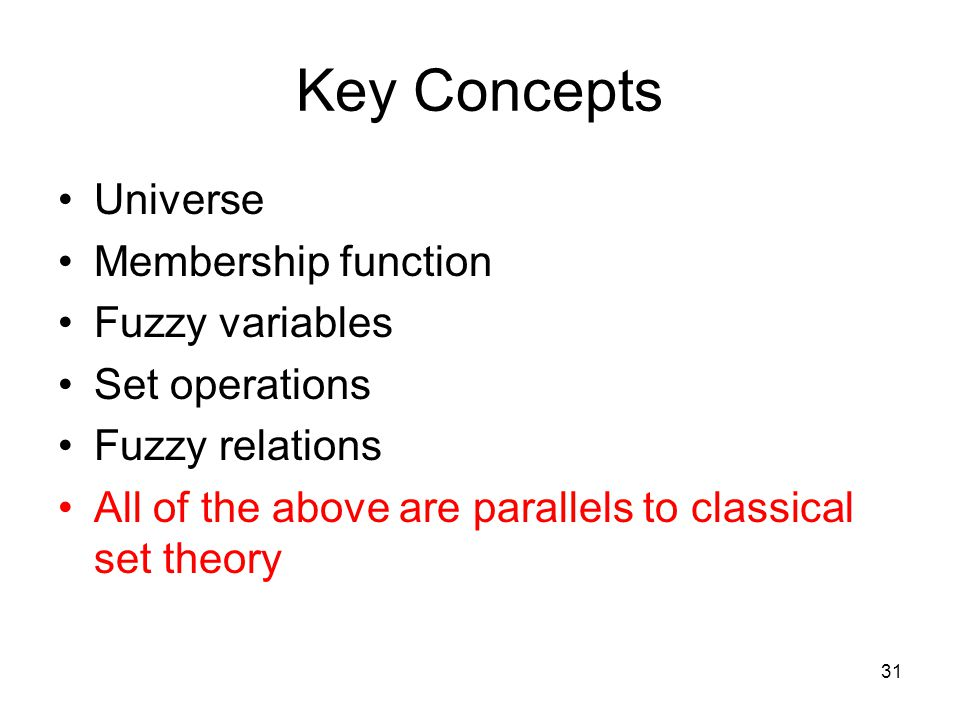 Key Concepts Universe Membership function Fuzzy variables