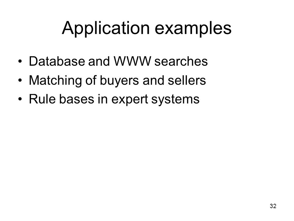 Application examples Database and WWW searches