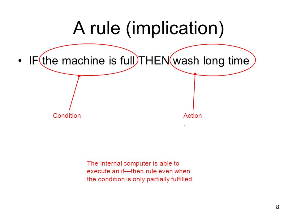 A rule (implication) IF the machine is full THEN wash long time