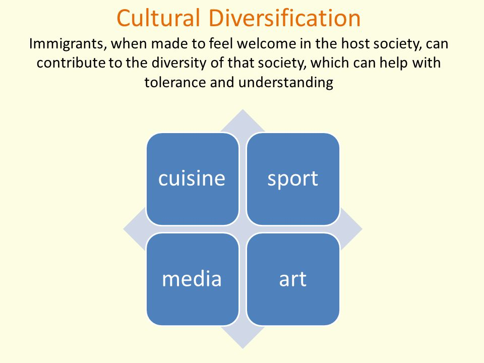 Cultural Diversification Immigrants, when made to feel welcome in the host society, can contribute to the diversity of that society, which can help with tolerance and understanding