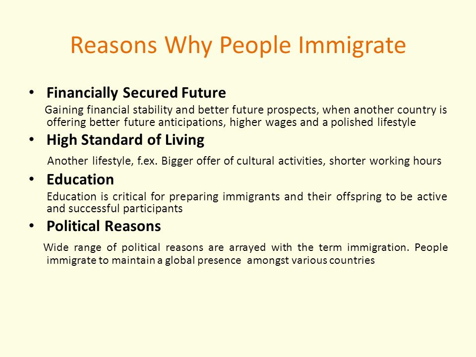 Reasons Why People Immigrate