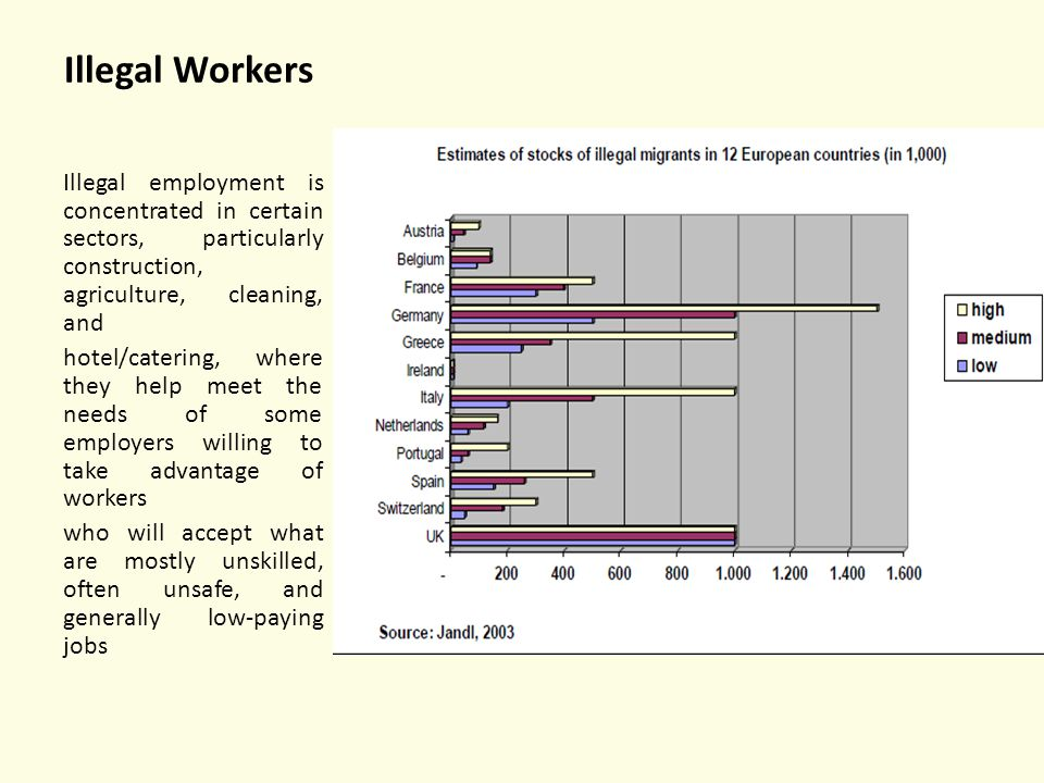 Illegal Workers Illegal employment is concentrated in certain sectors, particularly construction, agriculture, cleaning, and.