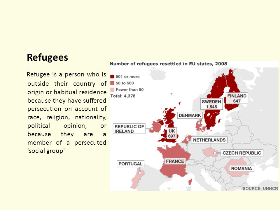 Refugees Refugee is a person who is outside their country of origin or habitual residence because they have suffered persecution on account of race, religion, nationality, political opinion, or because they are a member of a persecuted social group