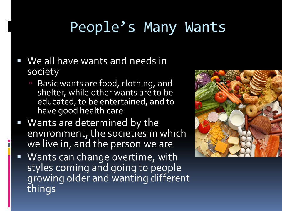 People's Many Wants We all have wants and needs in society