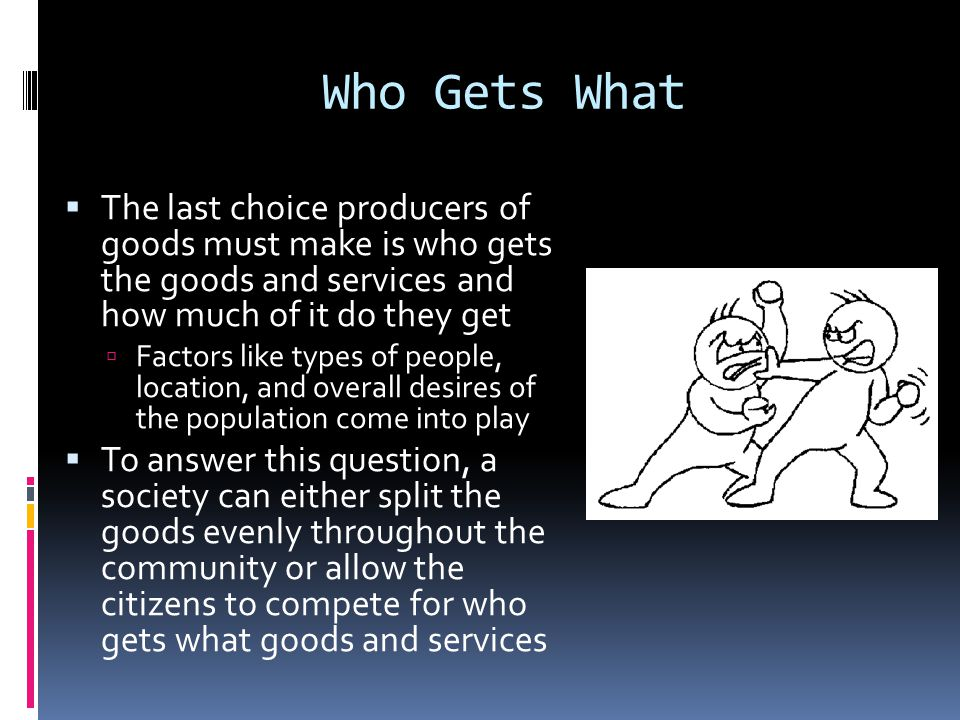 Who Gets What The last choice producers of goods must make is who gets the goods and services and how much of it do they get.