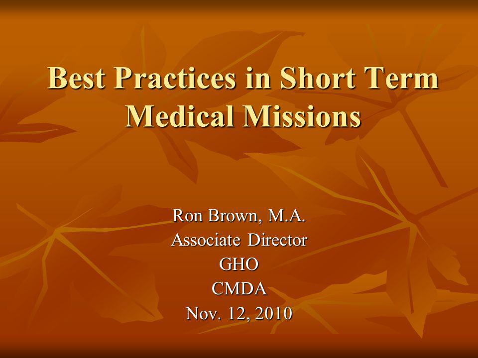 Best Practices in Short Term Medical Missions