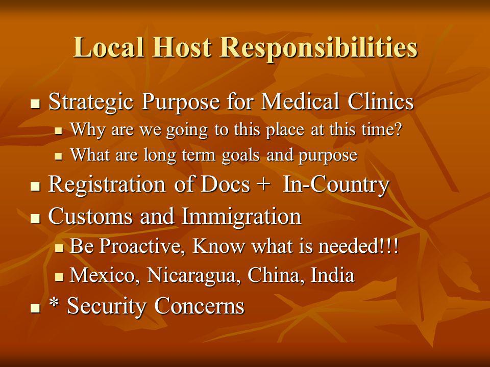 Local Host Responsibilities