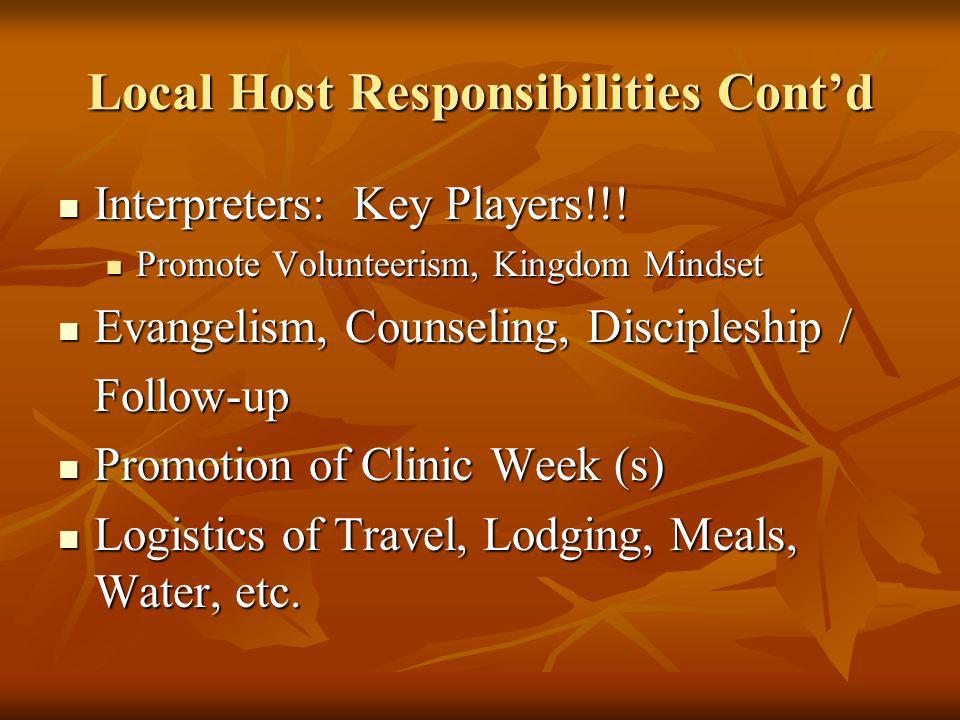 Local Host Responsibilities Cont'd