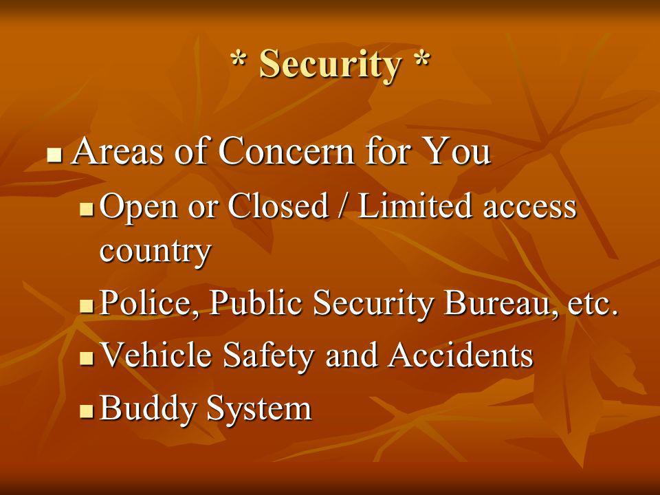 Areas of Concern for You