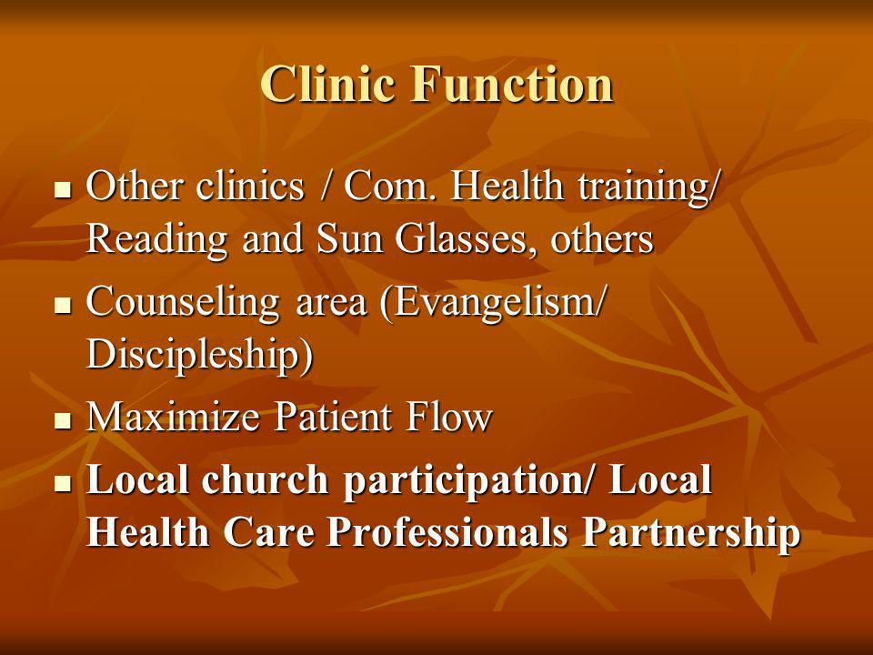 Clinic Function Other clinics / Com. Health training/ Reading and Sun Glasses, others. Counseling area (Evangelism/ Discipleship)