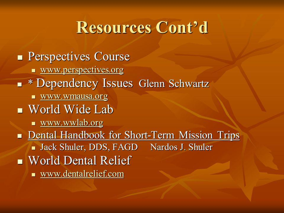 Resources Cont'd Perspectives Course World Wide Lab