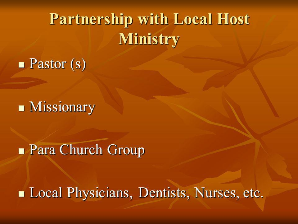 Partnership with Local Host Ministry