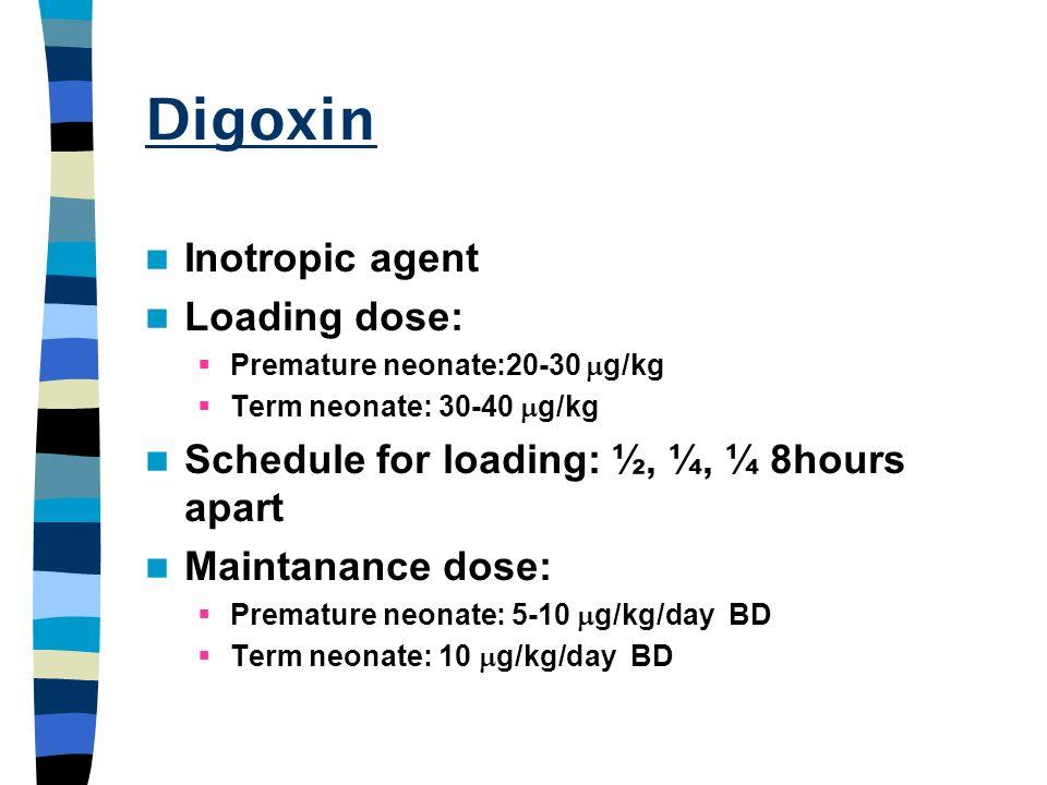 Digoxin Inotropic agent Loading dose: