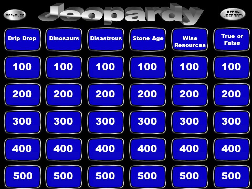 Jeopardy True or False. Drip Drop. Dinosaurs. Disastrous. Stone Age. Wise Resources