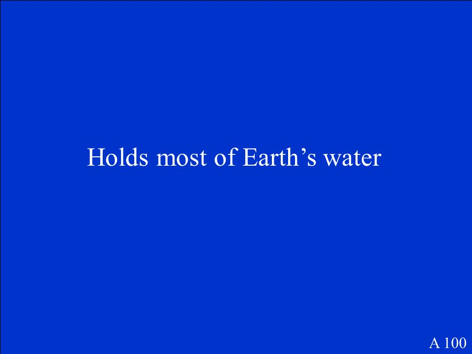 Holds most of Earth's water