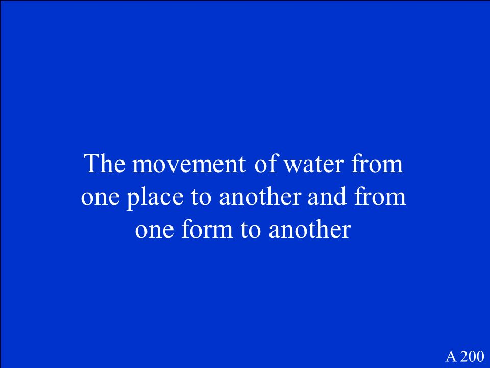 The movement of water from one place to another and from one form to another