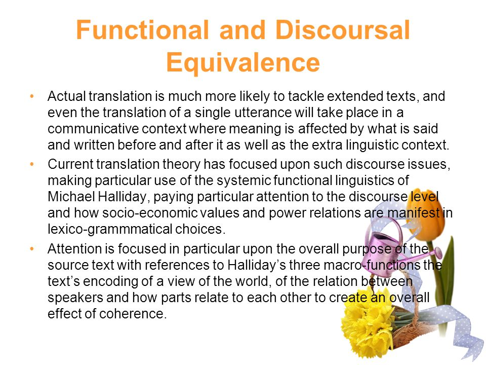 Functional and Discoursal Equivalence