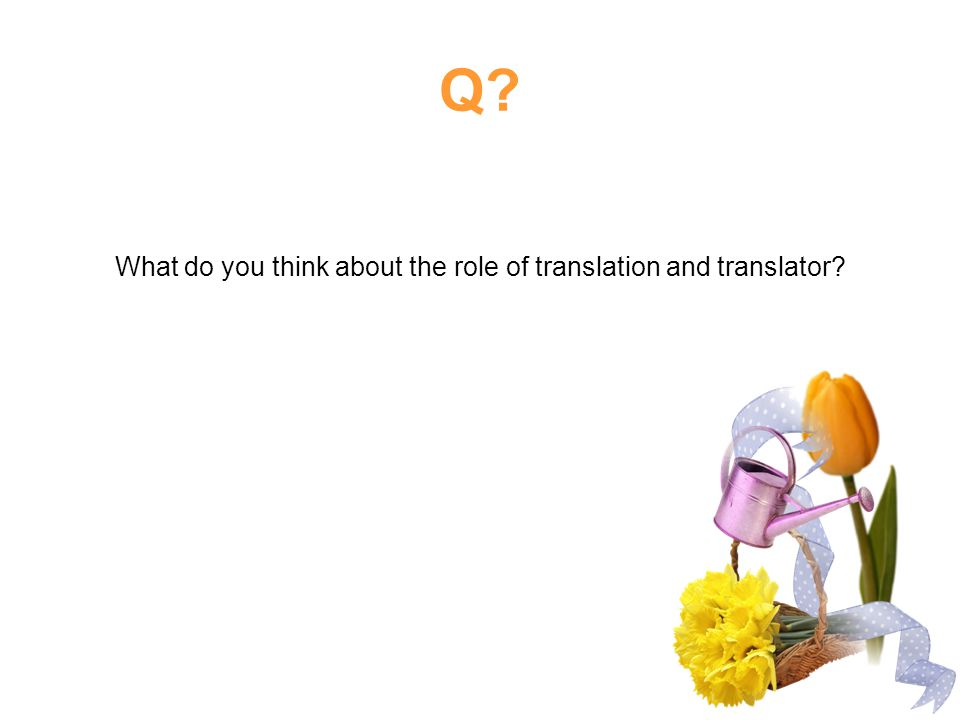 What do you think about the role of translation and translator