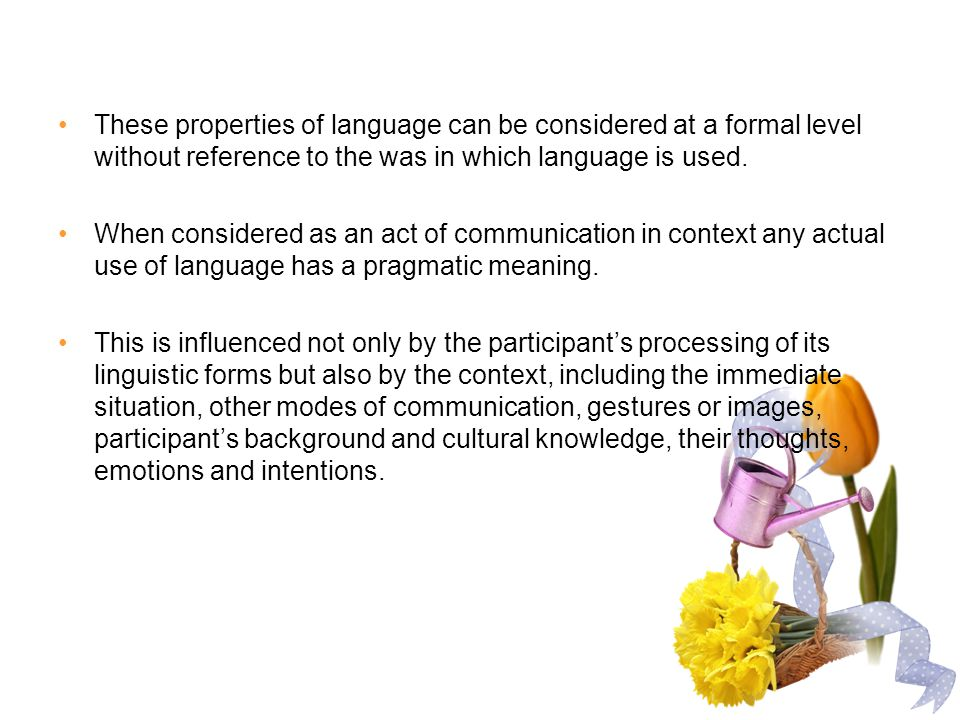 These properties of language can be considered at a formal level without reference to the was in which language is used.