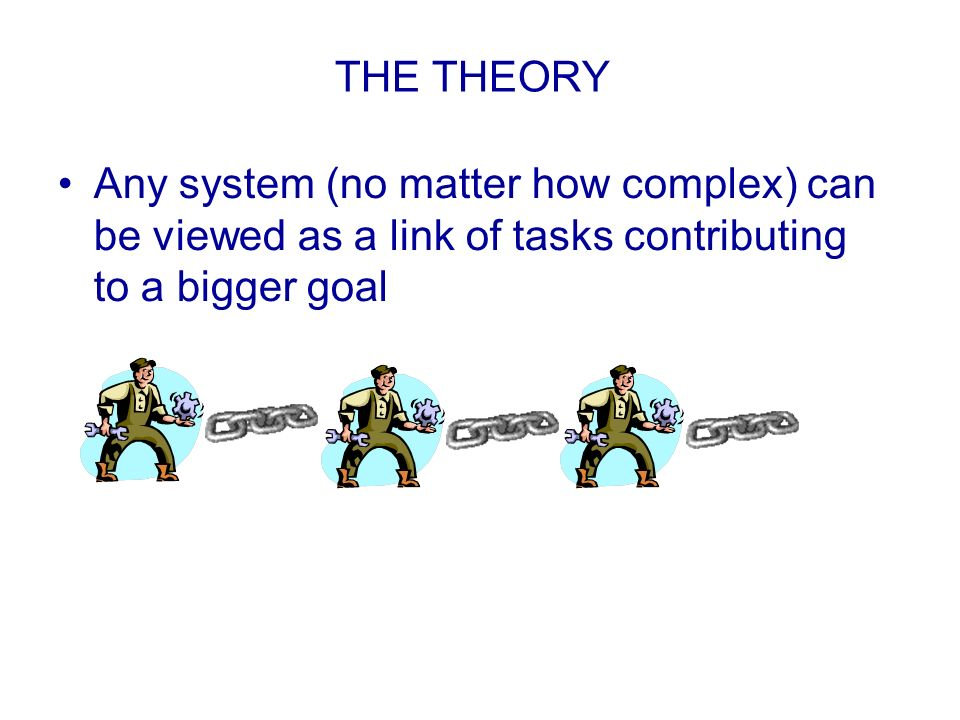 THE THEORY Any system (no matter how complex) can be viewed as a link of tasks contributing to a bigger goal.