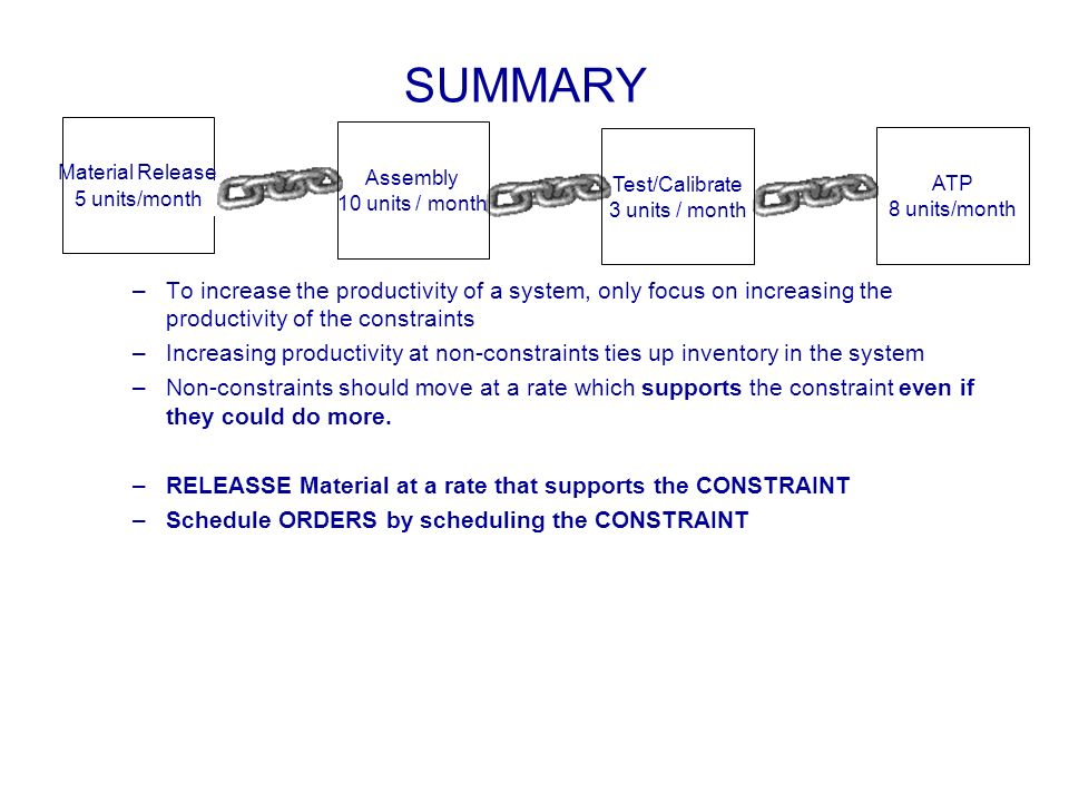 SUMMARY Material Release. 5 units/week. Assembly. 10 units / month. Test/Calibrate. 3 units / month.