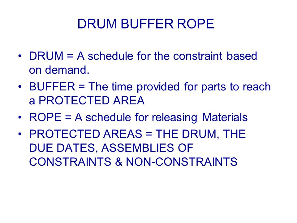 DRUM BUFFER ROPE DRUM = A schedule for the constraint based on demand.