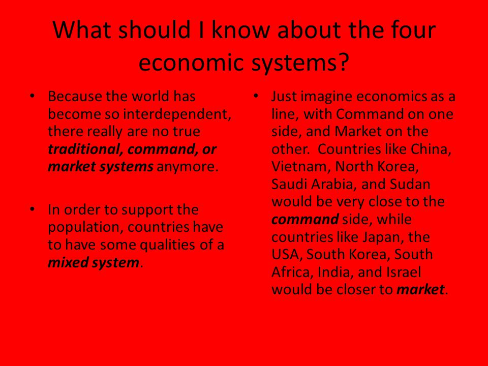 What should I know about the four economic systems