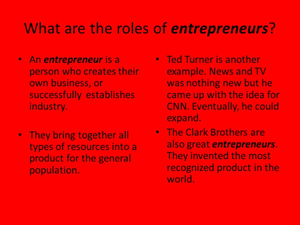 What are the roles of entrepreneurs