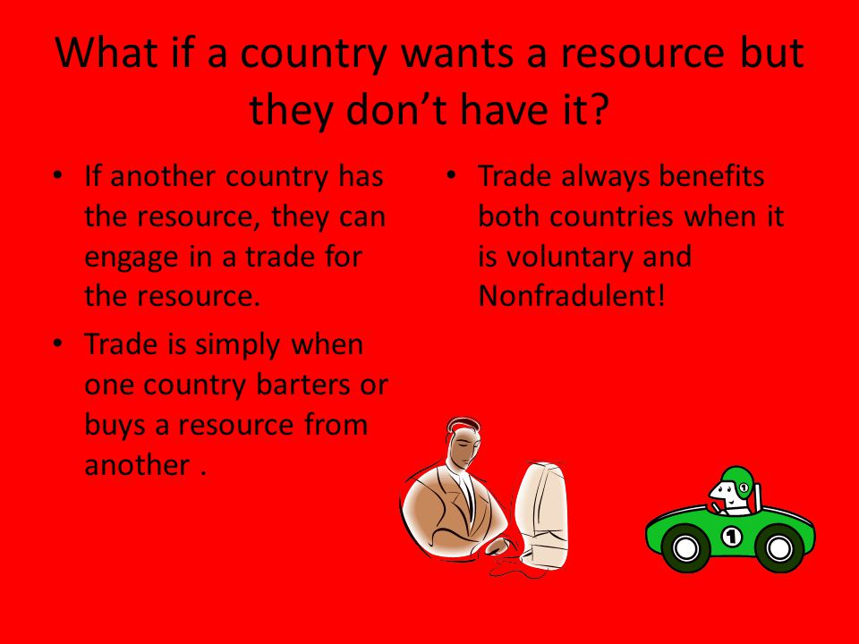 What if a country wants a resource but they don't have it
