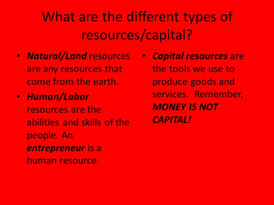 What are the different types of resources/capital