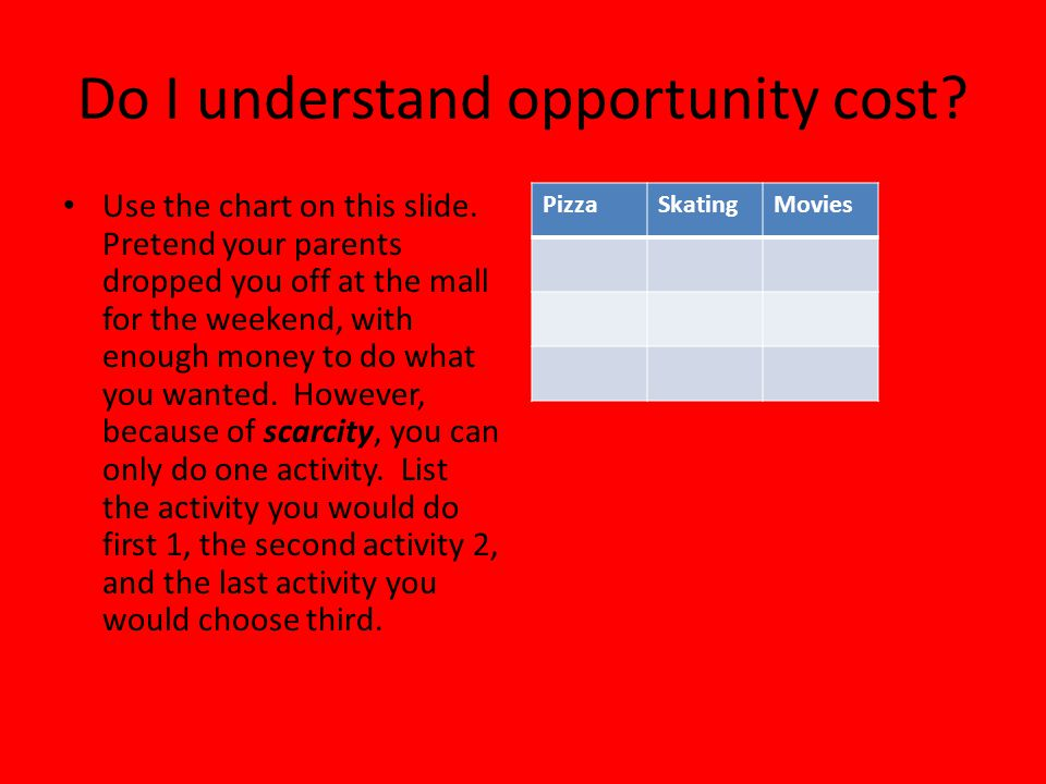 Do I understand opportunity cost