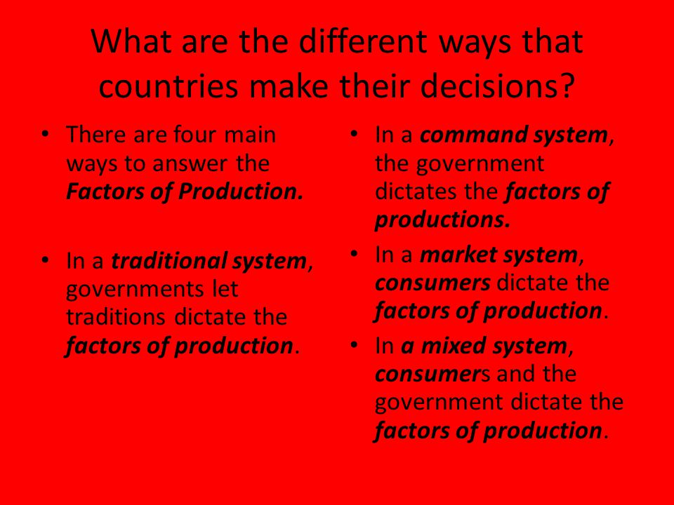 What are the different ways that countries make their decisions