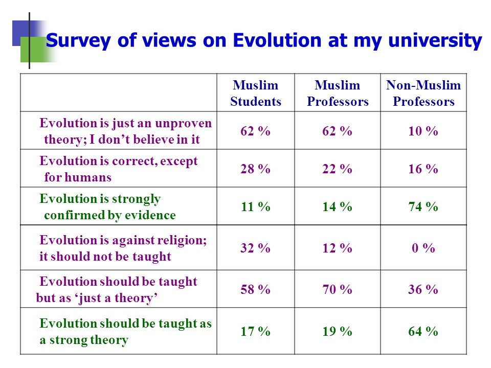Survey of views on Evolution at my university