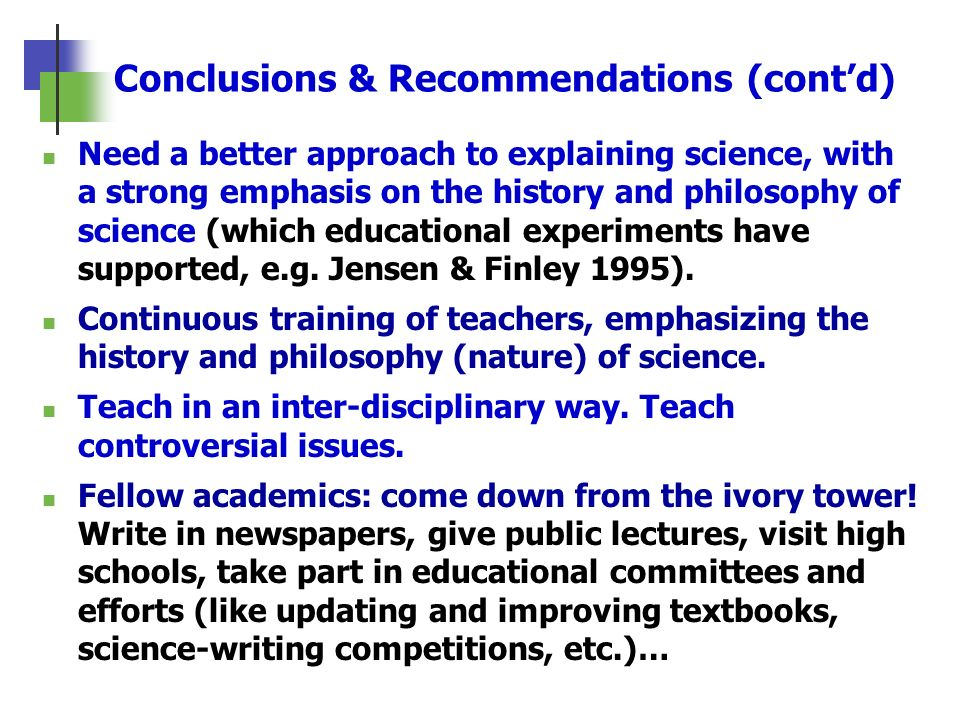 Conclusions & Recommendations (cont'd)