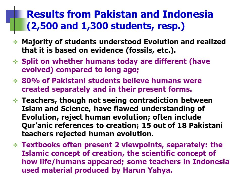 Results from Pakistan and Indonesia (2,500 and 1,300 students, resp.)
