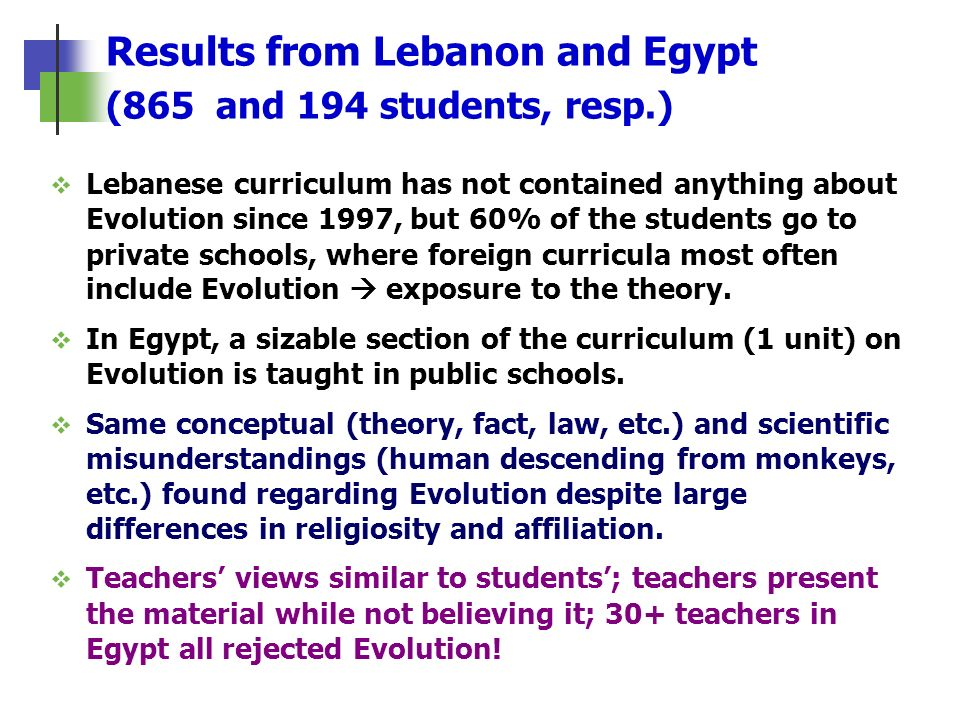 Results from Lebanon and Egypt (865 and 194 students, resp.)