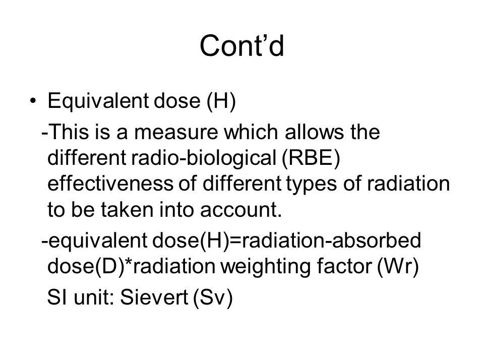 Cont'd Equivalent dose (H)