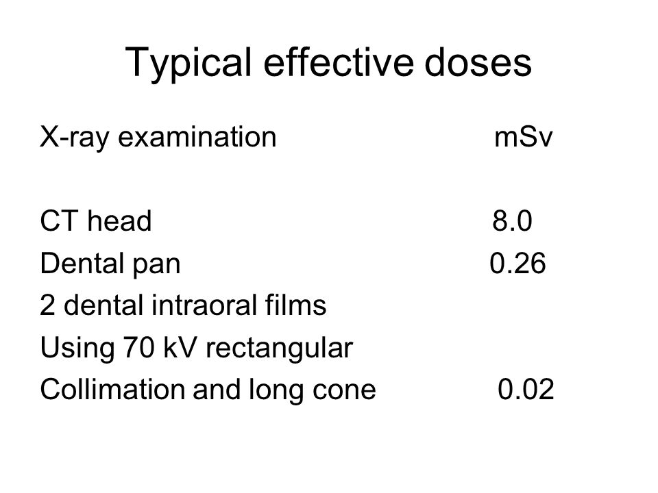 Typical effective doses