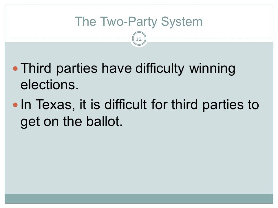 Third parties have difficulty winning elections.