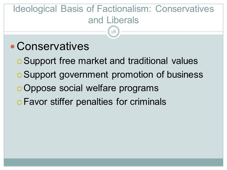Ideological Basis of Factionalism: Conservatives and Liberals