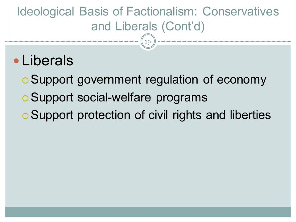 Ideological Basis of Factionalism: Conservatives and Liberals (Cont'd)