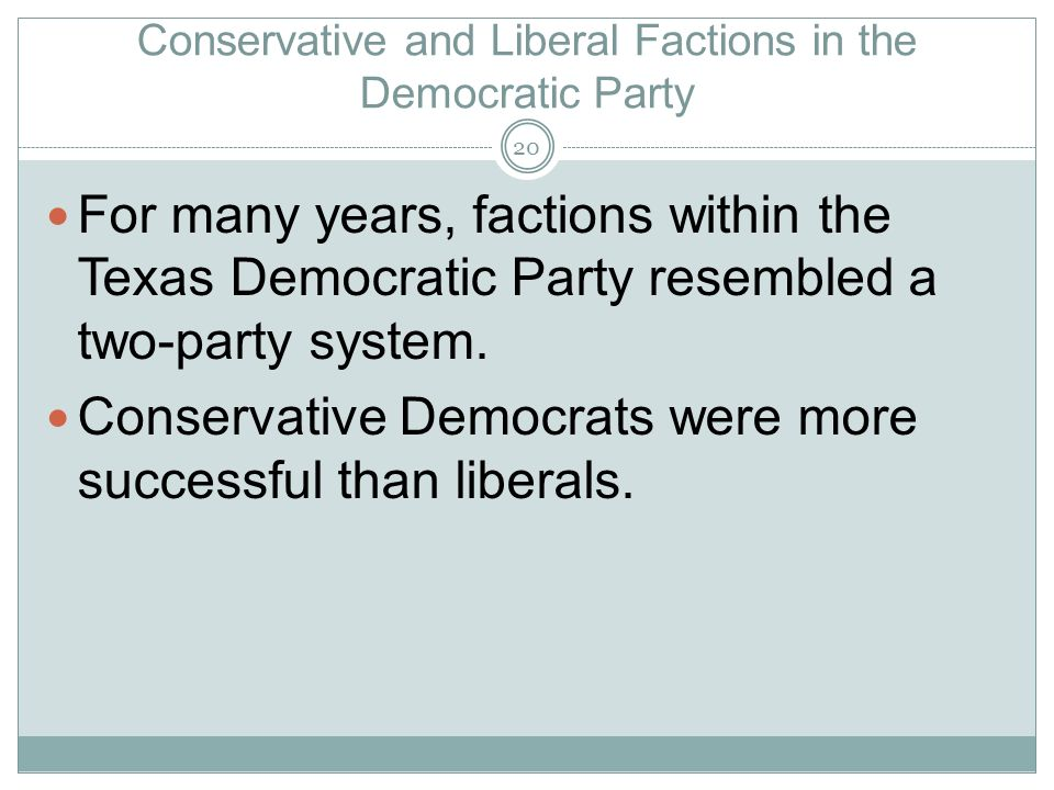 Conservative and Liberal Factions in the Democratic Party