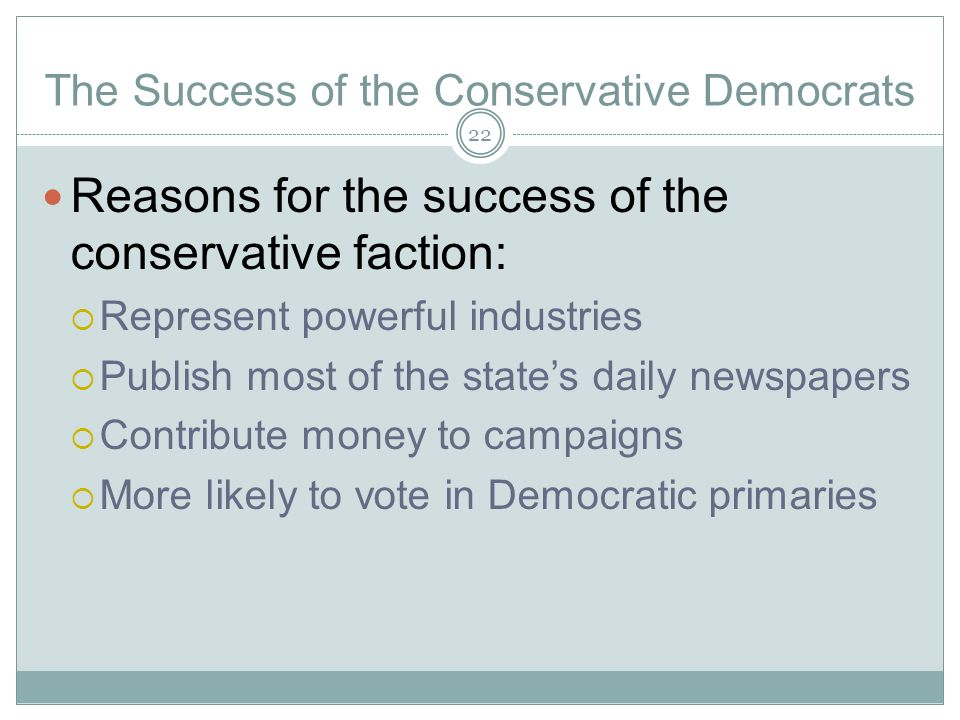 The Success of the Conservative Democrats