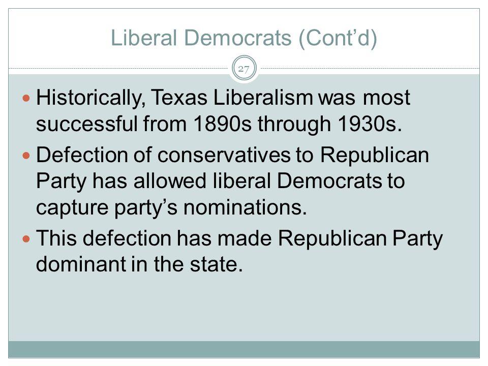 Liberal Democrats (Cont'd)