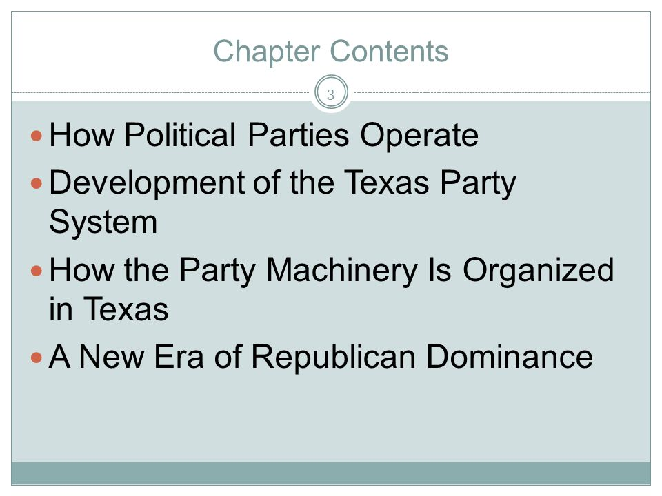How Political Parties Operate Development of the Texas Party System