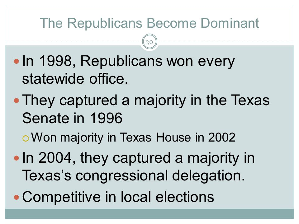 The Republicans Become Dominant