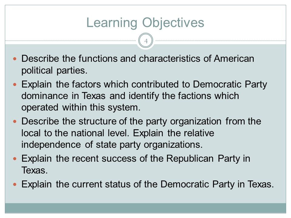 Learning Objectives Describe the functions and characteristics of American political parties.