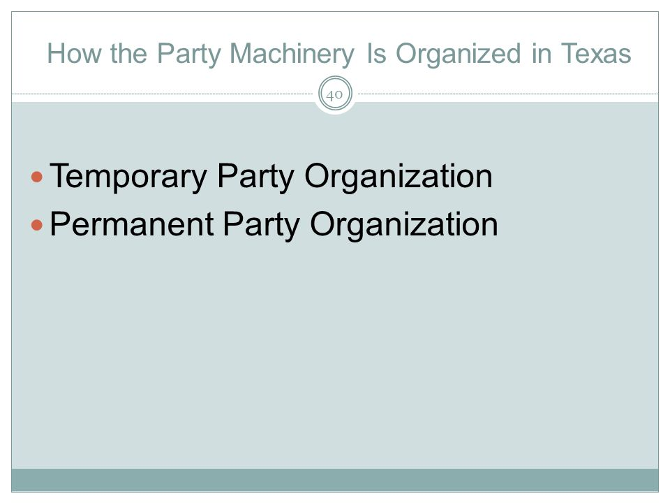 How the Party Machinery Is Organized in Texas